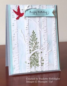 Lovely as a Tree, Woodland Textured Impressions Embossing Folder, Stampin' Up!, by Paulette Birkbigler