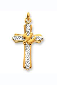 18K Gold-plated & Sterling Silver Dove Cross Charm $32.00 http://www.celebrateyourfaith.com/18K-Gold-45-plated-amp-Ster-P9168C771.cfm