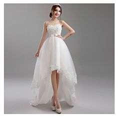 A-line+Wedding+Dress+Asymmetrical+Sweetheart+Tulle+with+–+USD+$+104.49