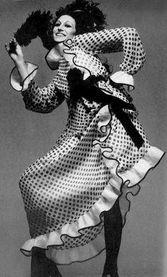Anjelica Huston by Richard Avdeon, Vogue, 1970.