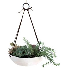 Dot & Bo Faceted Hanging Planter (1.072.085 IDR) ❤ liked on Polyvore featuring home, home decor, flowers, glazed planters and succulent planter