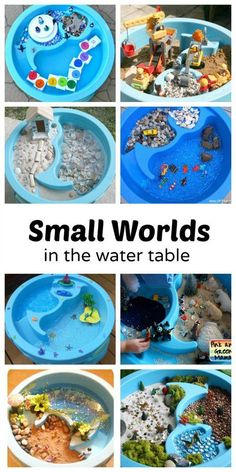 10 Creative Small Worlds in the Water Table.great sensory exploration and pretend play 10 Creative Small Worlds in the Water Table.great sensory exploration and pretend play Sensory Table, Sensory Bins, Sensory Activities, Sensory Play, Preschool Activities, Kindergarten Sensory, Family Activities, Baby Sensory, Summer Activities For Preschoolers