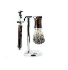 Shaving Brushes and Mugs: Fusion Razor And Pure Badger Brush With Marbleized Brown Enamel On Chrome Stand -> BUY IT NOW ONLY: $51.77 on eBay!