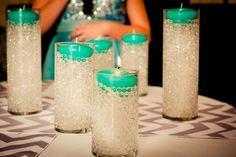 Check out these cute and easy DIY candles that this Bar or Bat Mitzvah had at the Springfield Country Club   Photo: Jim Harris Studios