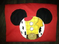 Woody Toy Story Mickey Ears appliqued shirt.