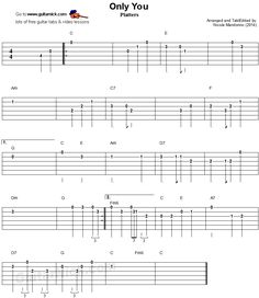 Only You - easy guitar tablature Easy Guitar Tabs, Easy Guitar Songs, Piano Songs, Music Guitar, Guitar Chords, Guitar Room, Teaching Channel, Fingerstyle Guitar, Dramatic Play Centers