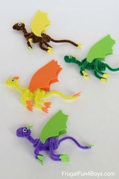 Pipe Cleaner Dragons Craft for Kids - Frugal Fun For Boys and Girls - Pipe Clea. Pipe Cleaner Dragons Craft for Kids – Frugal Fun For Boys and Girls – Pipe Cleaner Dragons Cra Crafts For Boys, Projects For Kids, Diy For Kids, Kids Crafts, Craft Projects, Arts And Crafts, Craft Kids, Easy Crafts, Preschool Crafts