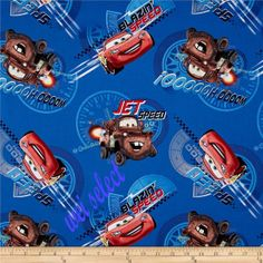 Disney Pixar Cars - McQueen & Mater Jet Blazin Speed Wooo Ohooooo Cotton fabric by the yard 47593 via Etsy Sewing Crafts, Sewing Projects, Car Prints, Vinyl Fabric, Disney Pixar Cars, Quilted Wall Hangings, Etsy Shipping, Fabric Online, Fabric Design