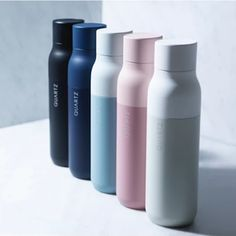 The minimalist LARQ bottle cleans itself using UV light, for people troubled by the hygiene of tricky-to-wash reusable water bottles.