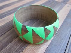 Neon Green Stained Wood Bangle