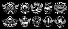 Tattoo Studio, Studio Logo, Custom Tattoo, Tattoo Fonts, Dark Backgrounds, Letter Logo, Digital Illustration, Tattoo Illustration, Clipart