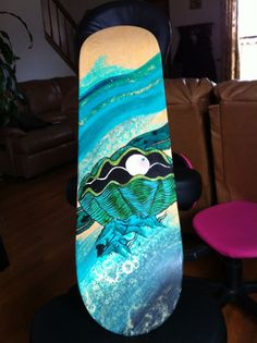 clam skateboard painting, getting ideas to paint a skateboard deck I found at Vans Skatepark 3 years ago!