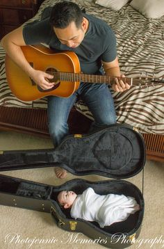 Daddy serenading a newborn with his guitar by Jennie Melissa Photography (previously Photojennic Memories Photography), Charlotte NC photographer, newborn photoshoot