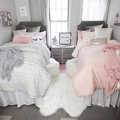 Sasha Stripe Comforter and Sham Set – Twin/Twin XL Pink Ombre Comforter Set – Full/Queen Dorm Bedding Set Twin Girl Bedrooms, Twin Bedroom Ideas, Modern Bedroom, Trendy Bedroom, Girl Rooms, Contemporary Bedroom, Bedroom For Twins, Teen Shared Bedroom, Babies Rooms