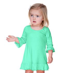 c5ab1e08fafcf Look at this Kavio! Ice Green Ruffle Shift Dress - Infant, Toddler & Girls  on today!