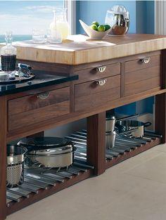 Walnut & Silver pot board dresser base with thick chopping block Smallbone of Devizes | Bespoke Kitchen Storage Designs | Kitchen Storage Solutions