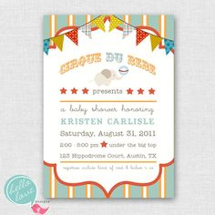 cirque du bebe circus baby shower invitation by hellolovedesigns, $16.00