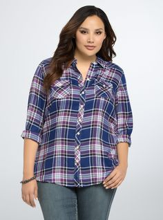 """<p>Call us a plaid influence, but we think you should rock this shirt...all the time. The style gets a flirty update with bright blue, white and purple plaid. All the classic details are present: a button front, breast pockets, and button sleeves with roll-'em-up potential.</p>  <p></p>  <p><b>Model is 5'10"""", size 1</b></p>  <ul> <li>Size 1 measures 30 3/4"""" from shoulder</li> <li>Rayon</li> <li>Wash cold, dry flat</li> <li>Imported plus size shirt</li> </ul>"""