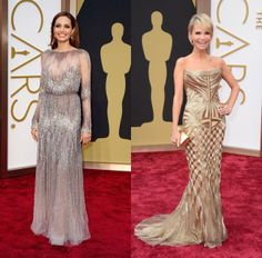 Imitating Oscar - Oscars 2014 - Angelina Jolie in Elie Saab Haute Couture and Kristen Chenoweth in Roberto Cavalli