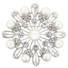 Silver Pearl Snowflake Wedding Brooch Pin