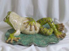 sculpture raku grenouille animaux céramique grès Danièle Meyer