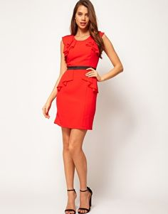 Image 4 ofLipsy Dress with Frill Sleeves