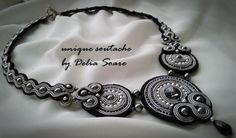 Soutache necklace, with Swarovski pearls, Swarovski cristals and onix. Design by Delia Soare, Romania