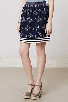 YES!!!!!! Navy, white, sail boats, and stars.  Nautical and astronomy.  I'm in heaven.   Or will be when I have this skirt.