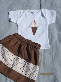 Applique Ice Cream Cone Shirt and Matching by ThreeTinyTurtles, $28.00