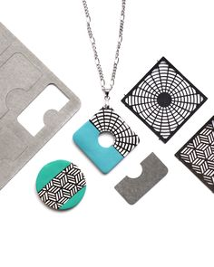 Use LC Shape Plate 10 and LC Microstencils set 6 to create a simple pendant from polymer clay. New Crafts, Turquoise Pendant, Clay Tutorials, Petra, Dog Tag Necklace, Stencils, Polymer Clay, Plates, Shape