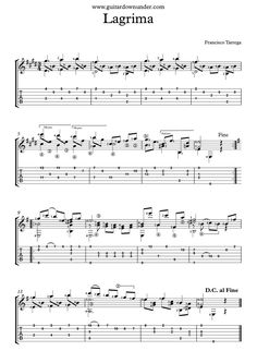 """Lagrima"" by Francisco Tarrega - Free classical guitar sheet music."