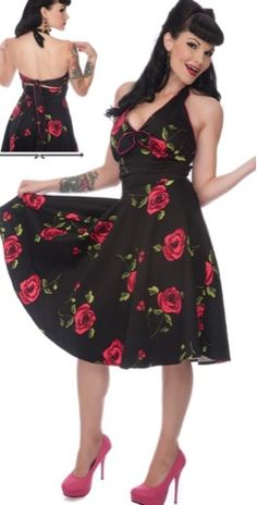 Pin up dress with roses|  Rockabilly bridesmaid idea