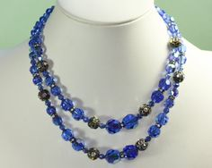 #VogueTeam #EtsyGift #vintage Blue AB Crystal Necklace Two Strands Choker Rhinestone Rondelles Vintage