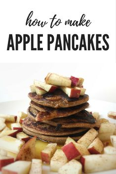 Healthy vegan apple pancakes with rolled oats, banana, cinnamon and apple sauce. Super easy!
