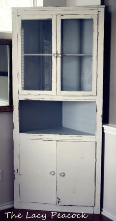 Handmade Vintage Corner Cabinet Shelf/Bar- painted robins egg blue and go in living room!    $375