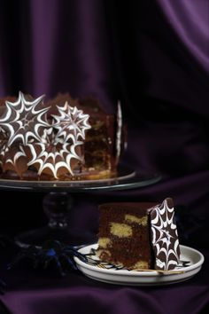 Marbled Chocolate Spider Web Cake