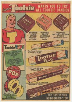 1948 ad for Tootsie Rolls, showing Captain Tootsie.  (Hoboken Historical Museum)