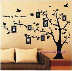 lucky tree:Family tree wall decals,wall decals, children wall decals,vinyl wall decal, wall stickers,nursery wall stickers,tree wall art via Etsy