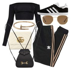 """""""Untitled #22085"""" by florencia95 ❤ liked on Polyvore featuring Gucci, adidas Originals, adidas, Ray-Ban and Cartier"""