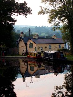 boat  canal  europe  gilwern  houses  reflection  uk  wales  village