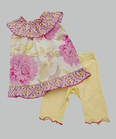 Loving this Pastel Pink Floral Yoke Top & Yellow Leggings - Toddler & Girls on #zulily! #zulilyfinds