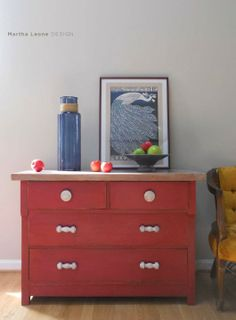 Red and white-washed dresser