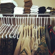 Great way to organize military uniforms