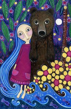 Brown Bear and Girl Art Print Whimsical Folk by LindyLonghurst❤ Karla Gerard, Bear Art, Naive Art, Moon Art, Art And Illustration, Fantastic Art, Whimsical Art, Cute Art, Art Girl