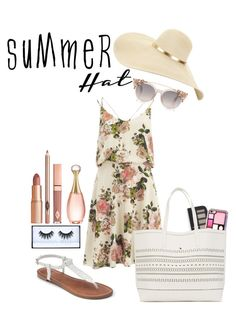 """""""Summer style"""" by eyvorjenssen ❤ liked on Polyvore featuring VILA, Forever 21, Apt. 9, Huda Beauty, Dolce Vita, Christian Dior and summerhat"""