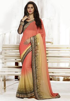Buy Shaded Peach and Beige Faux Chiffon Saree with Blouse online, work: Embroidered, color: Beige / Peach, usage: Festival, category: Sarees, fabric: Chiffon, price: $60.80, item code: STN817, gender: women, brand: Utsav
