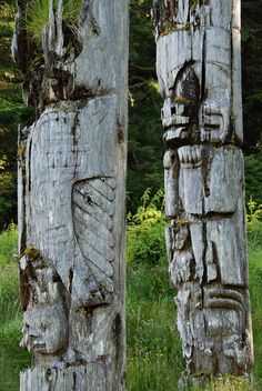 Ancient totem poles on Haida Gwaii. The Haida artists, remote and isolated, created some of the finest distinctive indigenous art in the world. Charlotte City, Emily Carr, Cultural Crafts, Haida Gwaii, Tlingit, Native Design, Canada, Totem Poles, Indigenous Art
