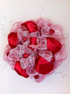 Valentine's Day Deco Mesh Wreath by DelaysDivineDesigns on Etsy
