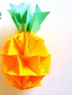 Tropical Origami Pineapple | This origami tutorial will show you how to make 3D paper pineapples for your next luau :)