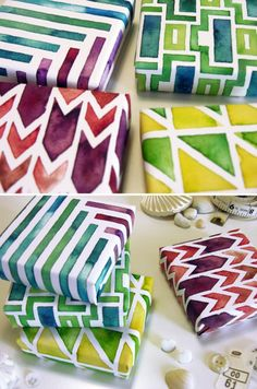 FUN IDEA FOR WRAPPING PAPER jewel tone gift boxes created using pencil, pen, and watercolors these lovelies are wrapped in a selection of custom-painted, and modern geometric watercolor-patterns. Wrapping Ideas, Wrapping Gift, Diy Wrapping Paper, Creative Gift Wrapping, Creative Gifts, Diy And Crafts, Arts And Crafts, Paper Crafts, Diy Paper